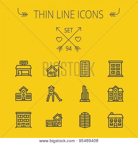 Construction thin line icon set for web and mobile. Set includes -house, playhouse, house with garage, buildings, shop store. Modern minimalistic flat design. Vector dark grey icon on yellow