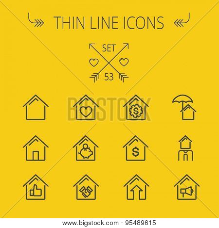 Real estate thin line icon set for web and mobile. Set includes- house heart, umbrella, dollar sign, piggy bank, megaphone icons. Modern minimalistic flat design. Vector dark grey icon on yellow
