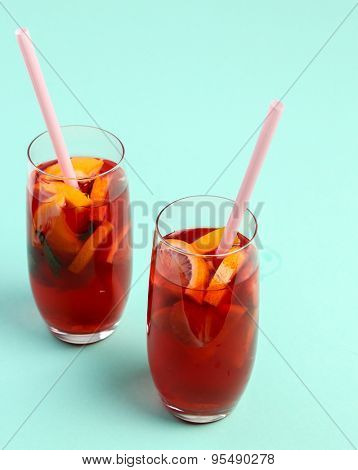 Summer. Refreshing drink on the table