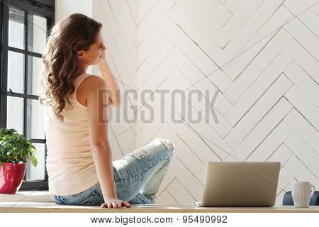 Lifestyle. Beautiful girl at home