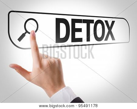 Detox written in search bar on virtual screen