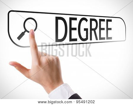 Degree written in search bar on virtual screen