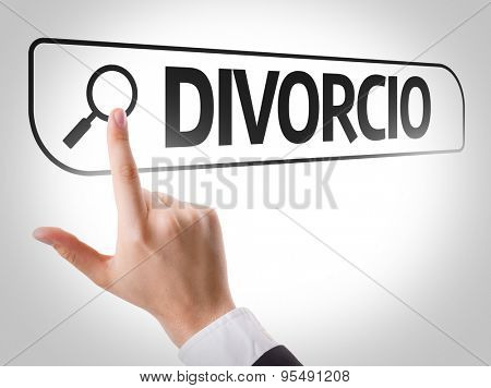 Divorce (in Portuguese) written in search bar on virtual screen