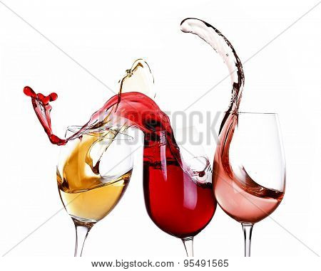 Wine splashes isolated on white
