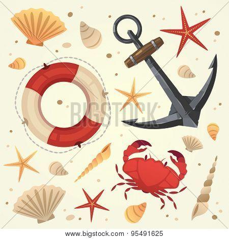 Marine life elements. Summer vacation. Vector illustration.
