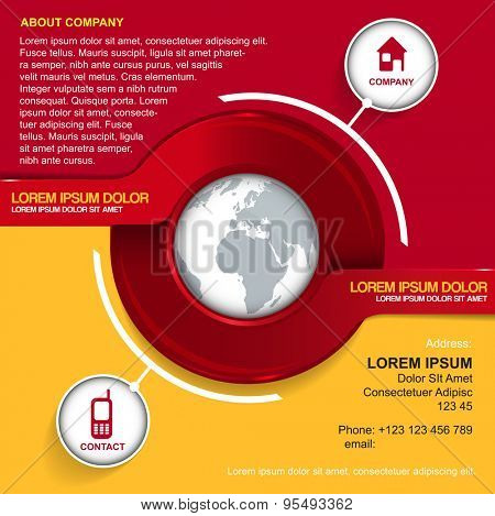 Vector background with red circle, globe, contact icons and place for introducing of company