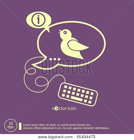 Bird Icon And Keyboard Design Elements