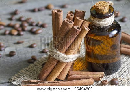 Cinnamon oil in the bottle