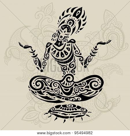 Meditation lotus pose. Tattoo style.