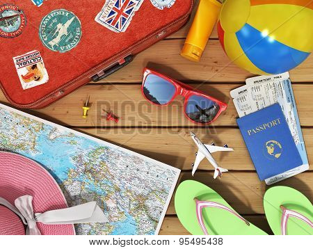 Travel Concept. Snglass, World Map, Beach Shoes, Sunscreen, Passport, Planeickets, Beach Ball, Hat