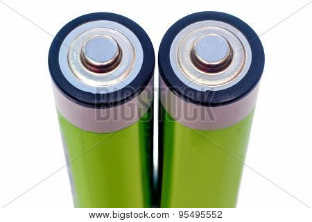 Two Electric Batteries On A White Background.