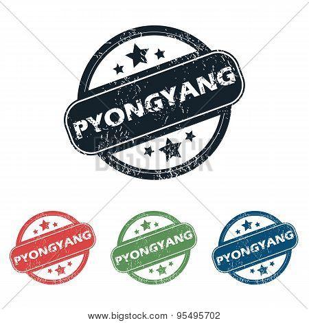 Round Pyongyang city stamp set