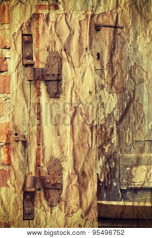 Rusty Hinge On Old Wooden Door, Retro Old Paper Effect.