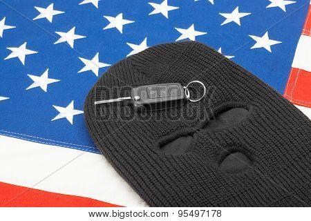 Car Keys On Black Mask And Flag Of United States Of America
