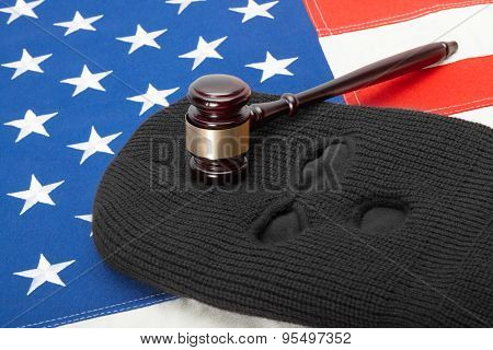 Black Thief Mask With Judge Gavel And Us Flag