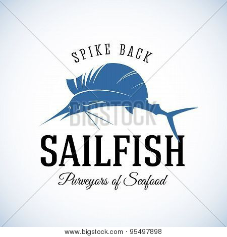 Spike Back Sailfish Seafood Purveyors Abstract Vector Retro Logo Template or Vintage Label with Typo