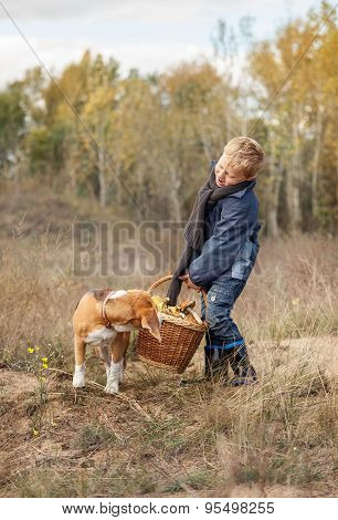 Boy With Full Heavy Basket Of Mushrooms On The Forest Glade