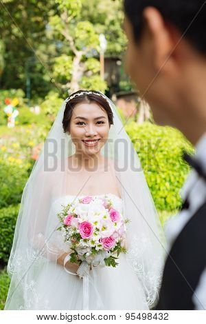 Cheerful Asian Bride