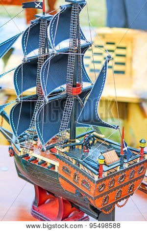 The Model Of A Sailing Vessel Is Photographed By A Close Up