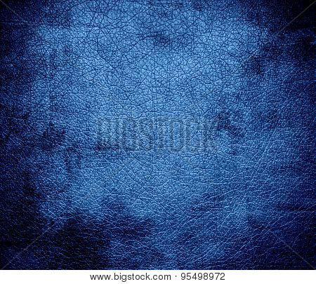 Grunge background of cyan-blue azure leather texture