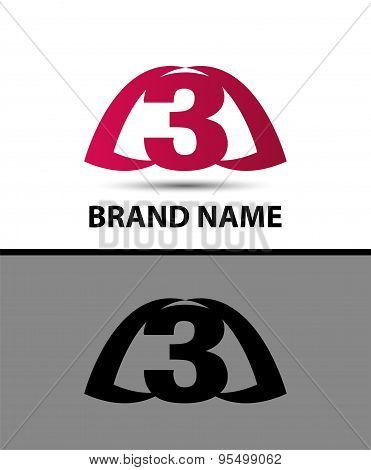 Number logo design. Logo 3 vector template