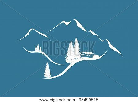 winter landscape in the alps with chalet and firs