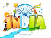 stock photo of ashoka  - Glossy 3D text India in national tricolor with cute boy holding flag - JPG