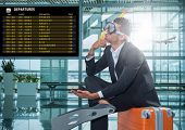 image of single man  - Funny business man ready for holidays wearing a scuba diving mask Travel concept - JPG