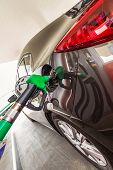 foto of fuel economy  - Refilling car fuel on the gas station - JPG