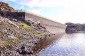 pic of dam  - Artificial Lake Water Dam in the Canary Islands Gran Canaria  - JPG