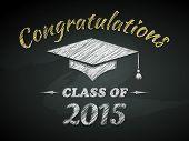 stock photo of congratulation  - Class of Graduation Congratulations Poster Vector Illustration - JPG