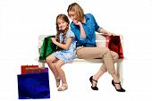 pic of wonderful  - Happy mother and daughter with shopping bags sitting at studio - JPG