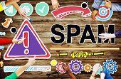 pic of spam  - Spam Problem Virus Online Malware Hacking Concept - JPG