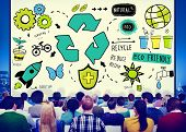 stock photo of reduce  - Recycle Reduce Reuse Eco Friendly Natural Saving Go Green Concept - JPG
