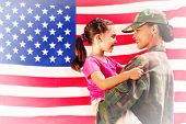 image of reunited  - Solider reunited with daughter against rippled us flag - JPG