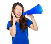 picture of yell  - Asian student yell with megaphone - JPG