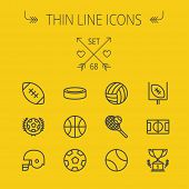 pic of volleyball  - Sports thin line icon set for web and mobile - JPG