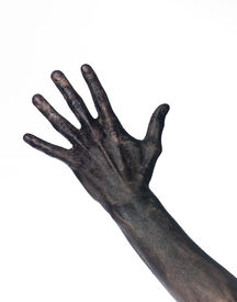 foto of doughy  - Very dirty hand isolated on a white background - JPG