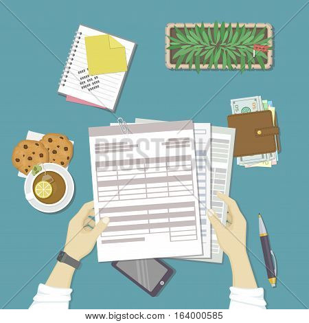 Man working with documents. Human hands hold the accounts, payroll, tax form. Workplace with papers, blanks, forms, phone, wallet with money, notebook with notes, pot, tea, cookies. Top view Vector