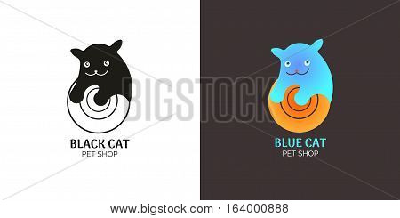 Pet shop logo kitten. Blue cat and ball icon template. Vector illustration on white and brown isolated background.