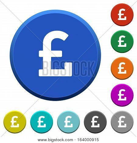 Pound sign round color beveled buttons with smooth surfaces and flat white icons