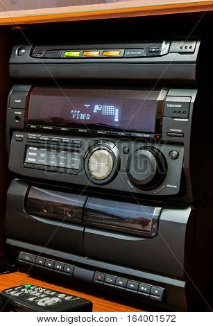Old stereo system cd and cassette player with radio
