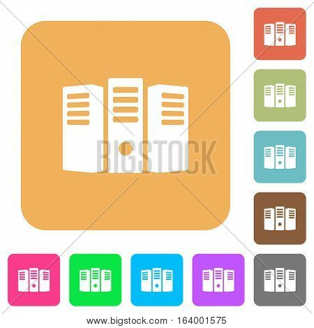 Server hosting icons on rounded square vivid color backgrounds.