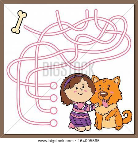 Vector illustration of maze (labyrinth) educational game with cute cartoon girl and dog for children