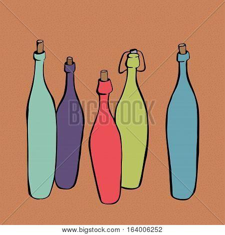 A range of colorful bottles vector illustration