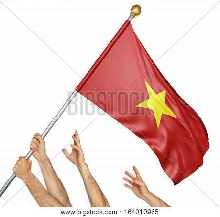 Team of peoples hands raising the Vietnam national flag, 3D rendering isolated on white background