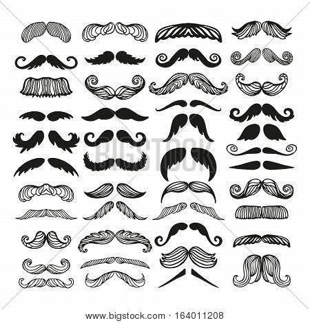 Black silhouette vector mustache. Hair hipster set. Curly collection beard barber. Gentleman symbol fashion adult human facial gave. Cartoon person mask variation design.