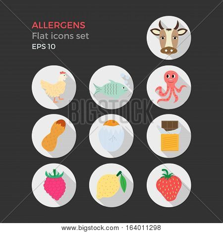 Allergens flat design icons set on black background. Vector illustration of food ingridients, that may cause allergy. Round icons with long shadows.