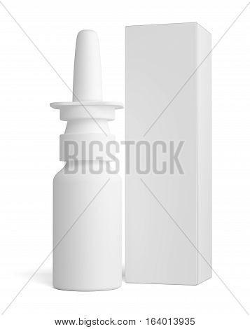 Spray nasal plastic bottle and tall white paper box for medical packaging mock up. 3D illustration