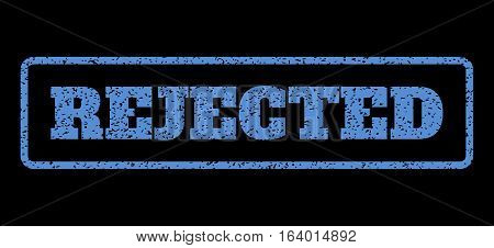 Blue rubber seal stamp with Rejected text. Vector caption inside rounded rectangular frame. Grunge design and dirty texture for watermark labels. Horisontal sticker on a black background.